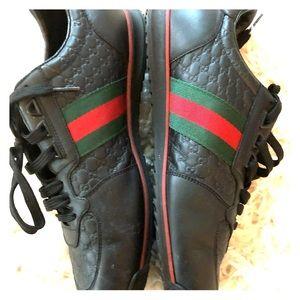 Gucci black low top kicks with box bags & receipt